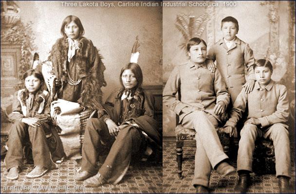 Lakota Native American Boys in Tribal Garments and Carlisle Uniforms