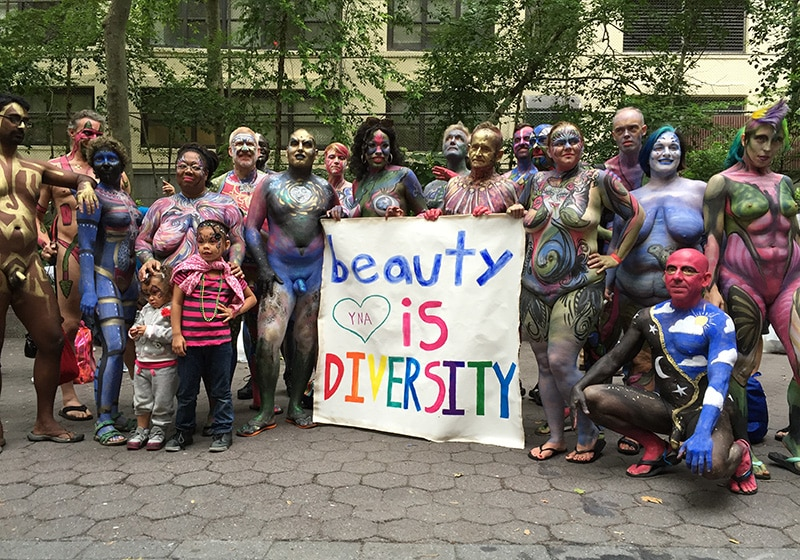 "Bodypainting Day Nude Models With Sign ""Beauty is Diversity"""