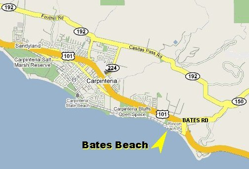 Map showing location of Bates Beach in Carpinteria, California