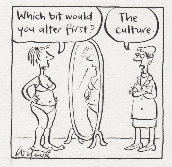 Cartoon by Wilcox about Body Image & Culture