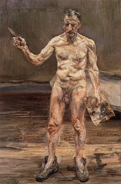 """Painter Working, Reflection"" 1993 Lucian Freud nude self-portrait"