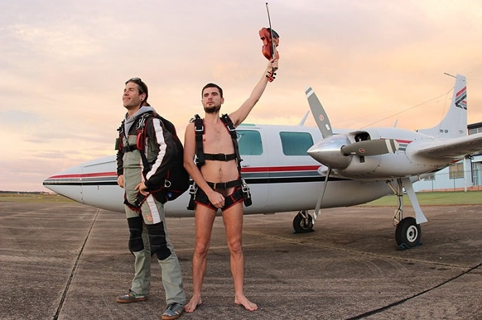 Glen Donnelly preparing for his naked skydive