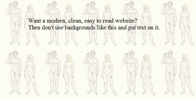 Top Mistakes of Nudist Websites: Bad graphics / background