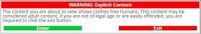 Nudist websites explicit content warning