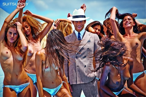 SuitSupply Ad campaign from 2014 with topless women