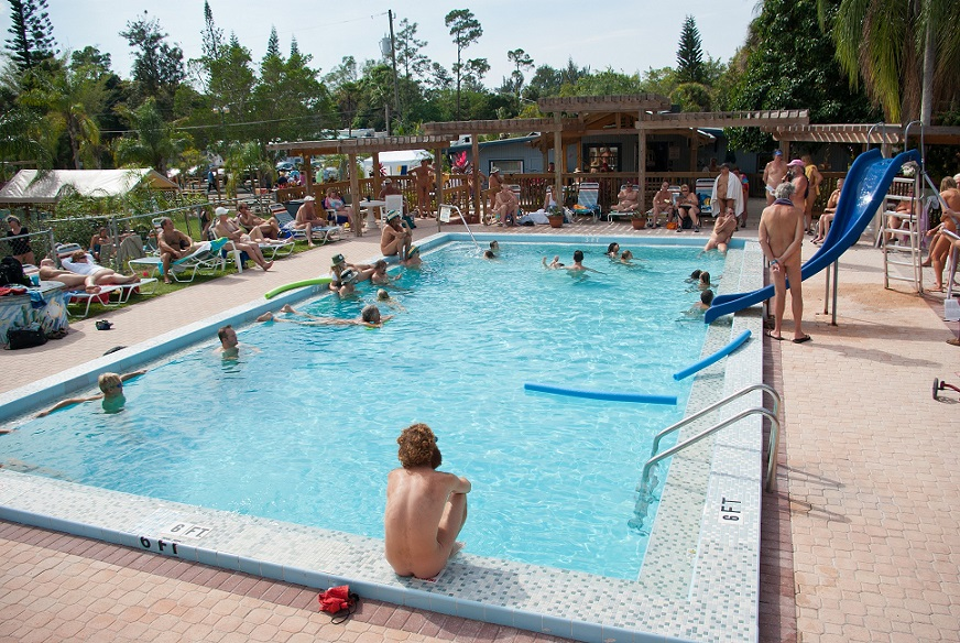 Outdoor swimming pool at Sunsport Gardens Family Naturist Resort