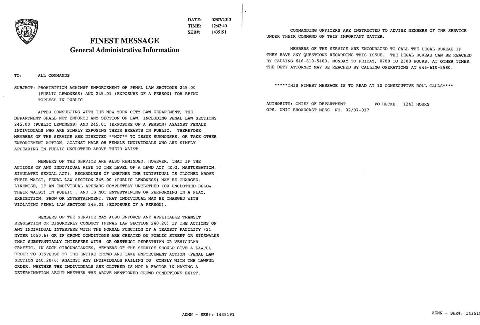 NYPD 2013 Memo About Topless Laws in New York