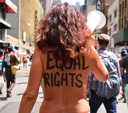 Topless Women Marching For Topfreedom Equal Rights