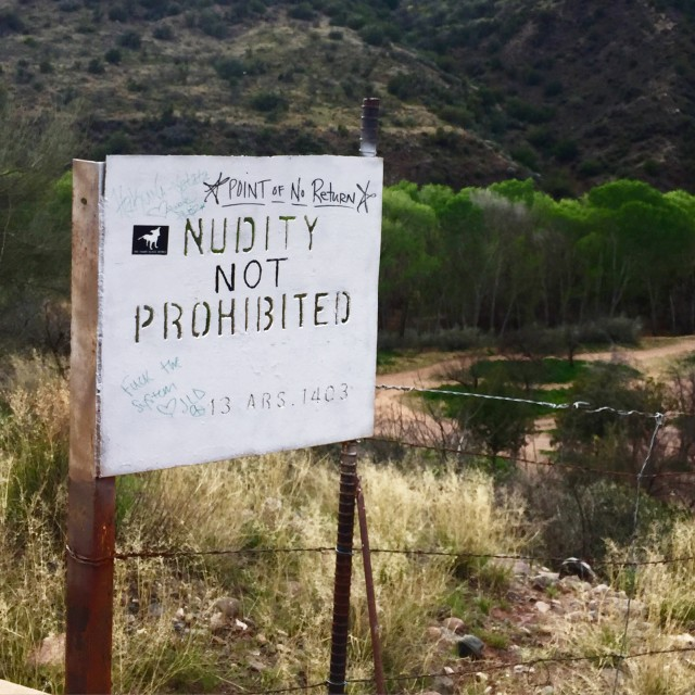 Nudity Not Prohibited sign leading to Verde Hot Springs