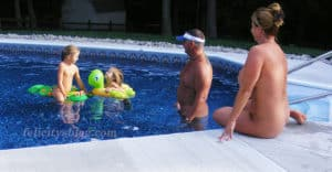 A nudist family with kids skinny dipping in their backyard pool felicitys blog
