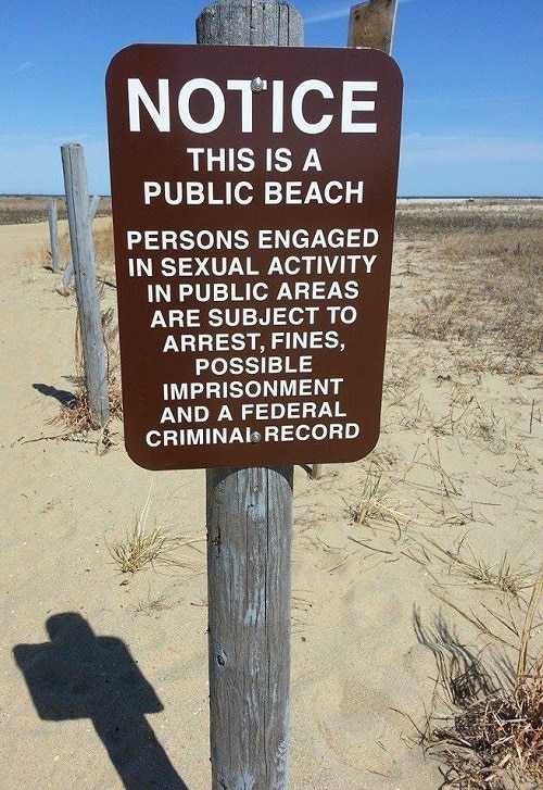 Gunnison Beach Sign Prohibiting Sexual Activity