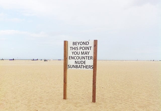Gunnison Beach Nude Sunbathers Sign