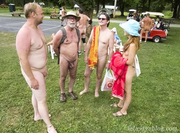 Friends meet at the Northeast Naturist Festival 2016