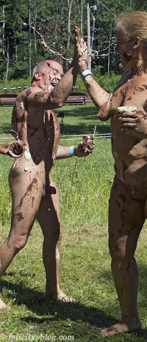 Northeast Naturist Festival 2016: High-five at the pudding toss