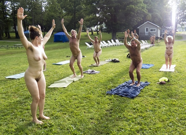 Nude yoga class at the Northeast Naturist Festival 2016