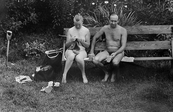 Naturist Couple in 1968 England by Elliott Erwitt