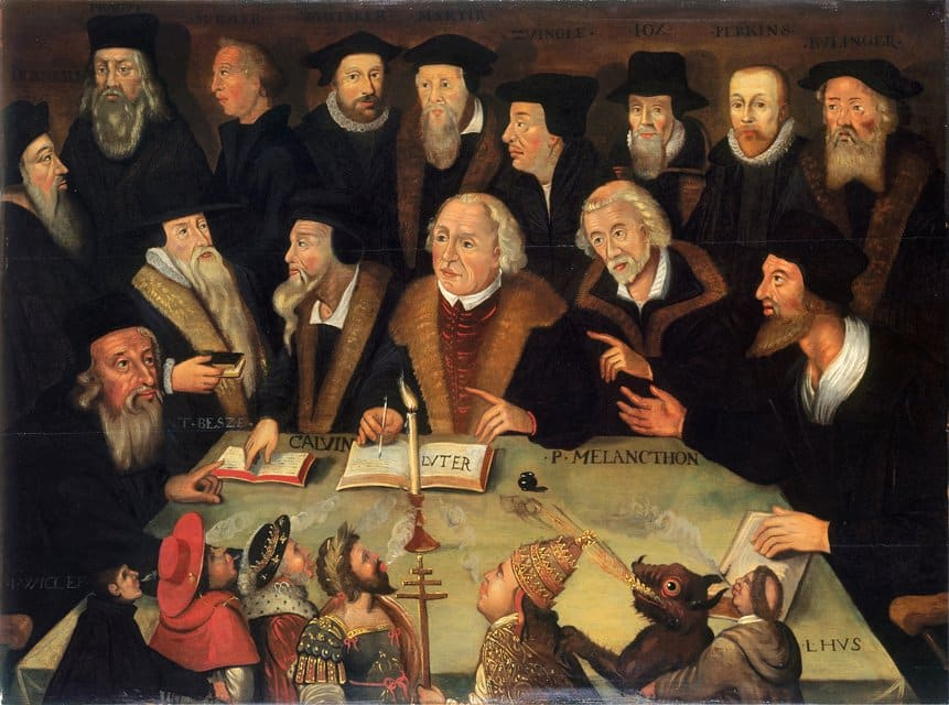 """Martin Luther in the Circle of Reformers"" German School 1625-1650,"