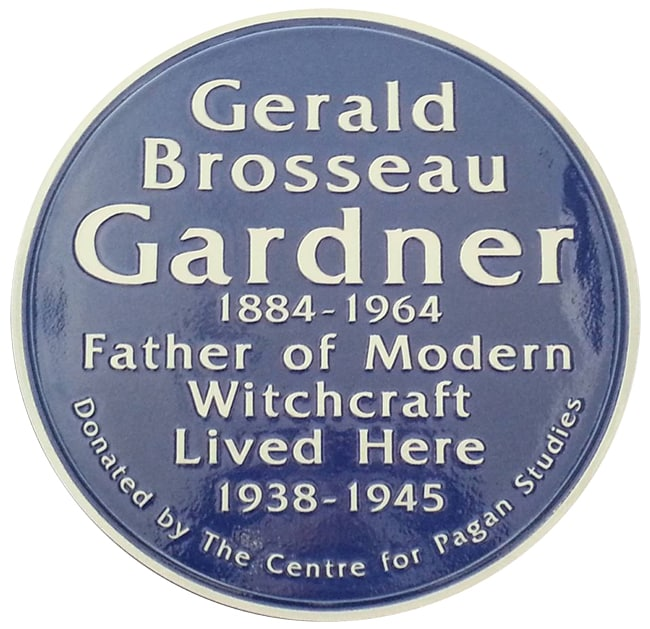 Plaque for Gerald Brosseau Gardner 1884 – 1964