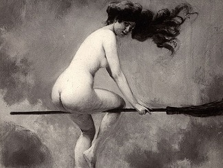 History of Nudity in Paganism and Wicca: Naked Witch on Broomstick