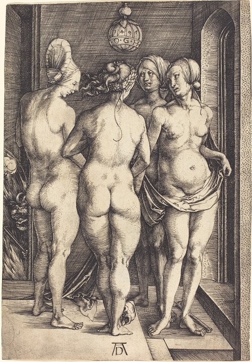 """The Four Witches"" 1497 engraving by Albrecht Durer"