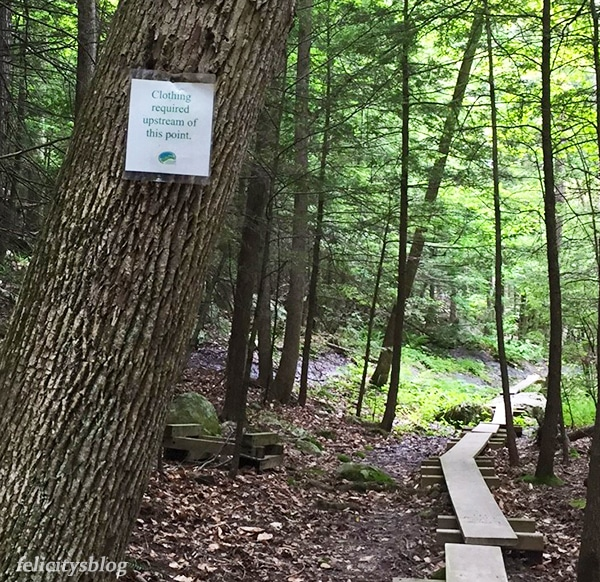 Mohonk Preserve Trail and Sign For Clothing Required
