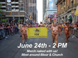 naked events 2018 toronto pride parade federation canadian naturists march naked felicitys blog