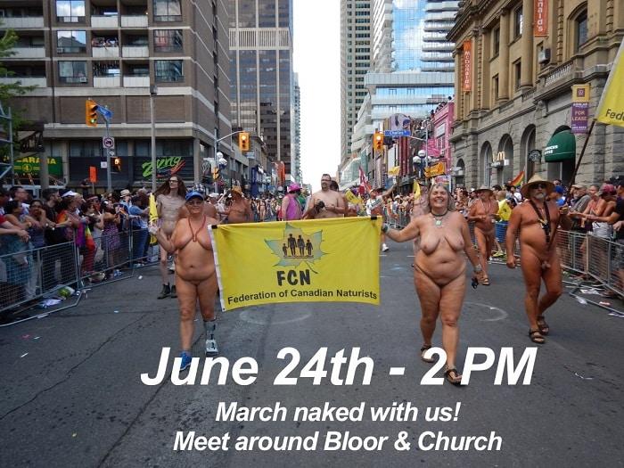 Toronto Pride Parade with Federation of Canadian Naturists