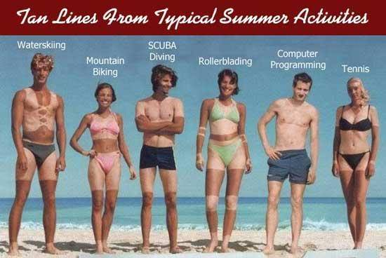 Ugly tan lines from various bathing suits