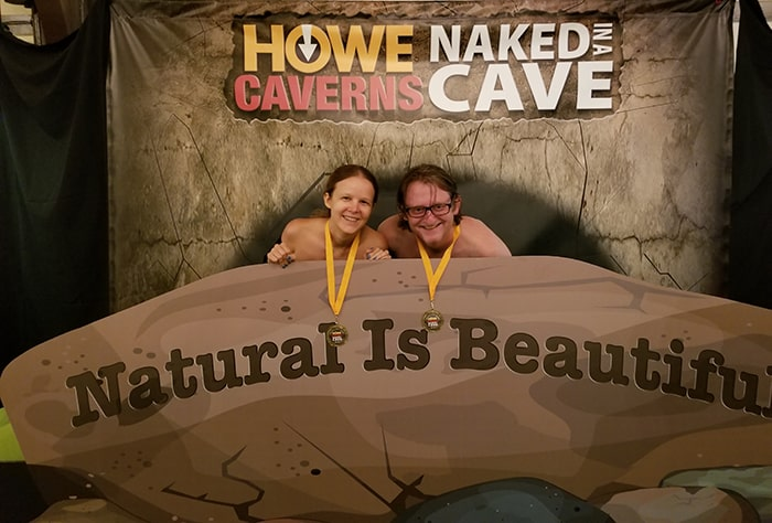 Photo booth for Naked in a Cave at Howe Caverns