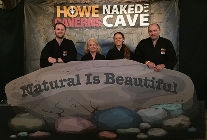 Group photo at Howe Caverns Naked in a Cave photo booth