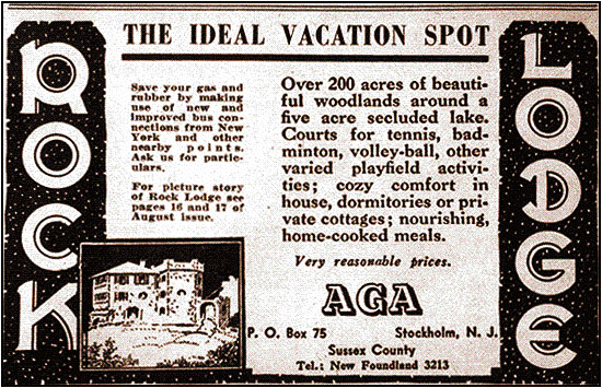 Rock Lodge Newspaper Ad From the 1940s